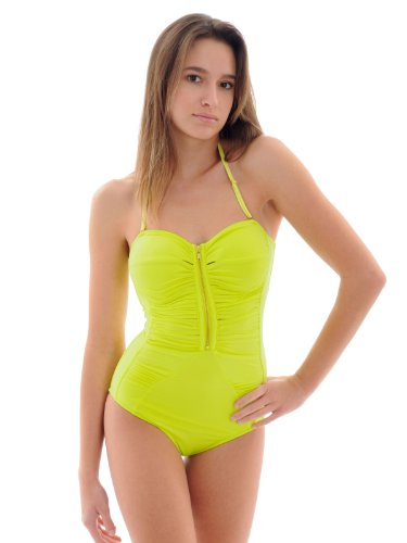 R Collection Junior's Rebel Bandeau Bathing Suit Citrus 1 Piece Swimsuit Sizes: Medium