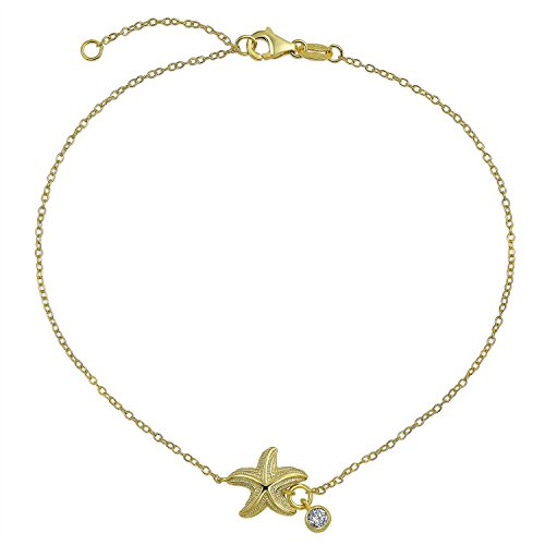 Nautical Starfish Sea Life CZ Accent Anklet Ankle Bracelet 14K Gold Plated 925 Sterling Silver 9 to 10 Inch ()