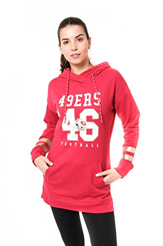 Icer Brands NFL San Francisco 49ers Women's Tunic Hoodie Pullover Sweatshirt Terry, Large, -