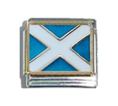 SCOTLAND SCOTTISH FLAG Ceramic Italian Charm 9mm - 1 x PQ043 Single Bracelet - Charm Italian Traditional