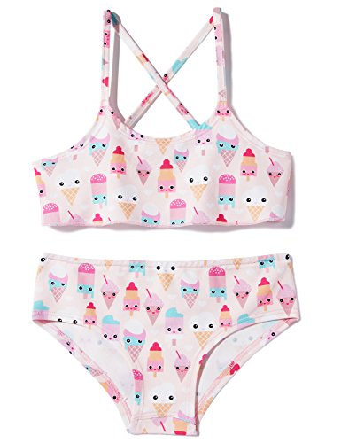 BFUSTYLE Baby Girls Swimsuit Two Piece Off Shoulder Bikini Set with Swimming Trunk Size 5 (Ice Cream,5 Years Old) (Girls Swimsuit Bottom)