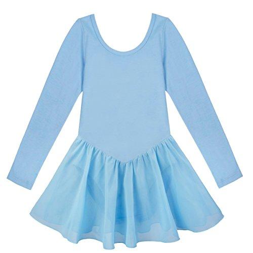 YiZYiF Girls' Kids Team Classics Long Sleeve Leotard Child Dancewear Dress Blue 5-6