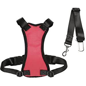 Aungoundet Dog Car Harness Plus Connector Strap, Dog Car Harness Seat Belt Adjustable Pet Harnesses Double Breathable… Click on image for further info.