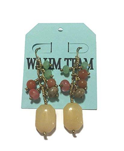 - Multi Color, Multi Stone, Beaded Drop Dangle Earrings, 2 inches long