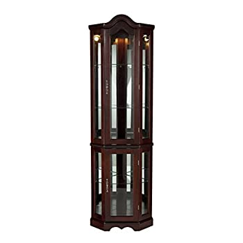 Image of Home and Kitchen Home Decorators Collection Vitric Lighted Curio, 70' Hx21 Wx16 D, Mahogany
