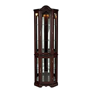 Superbe Southern Enterprises Lighted Corner Curio Cabinet, Mahogany Finish With  Antique Hardware