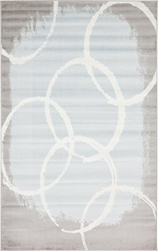 (Unique Loom Metro Collection Abstract Circles Light Colors Light Blue Area Rug (5' 0 x 8' 0))