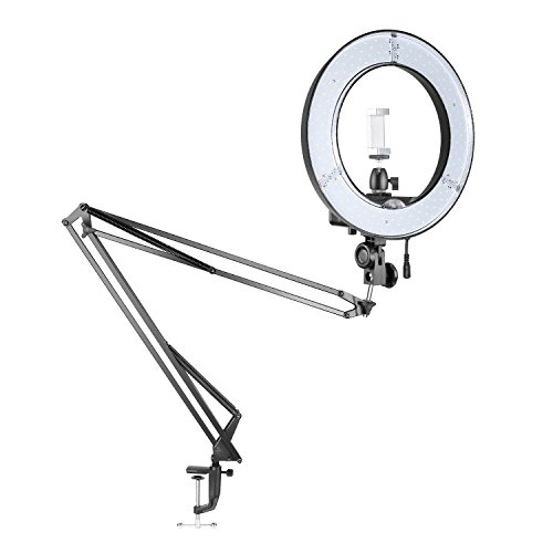 Neewer Table Top 14-inch Outer Dimmable LED Ring Light Lighting Kit for Smartphone/Camera Studio YouTube Make up Video Shooting with Rotatable Arm Stand, Diffuser, Phone Holder, Ball Head (US/EU Plug) by Neewer
