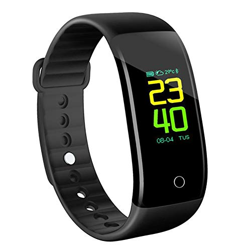 KINGBERWI Fitness Tracker, Color Screen Activity Tracker with Heart Rate Monitor, Waterproof Sleep Monitor Watch Smart Bracelet with Pedometer for Kids Women and Men Android iOS (Black)