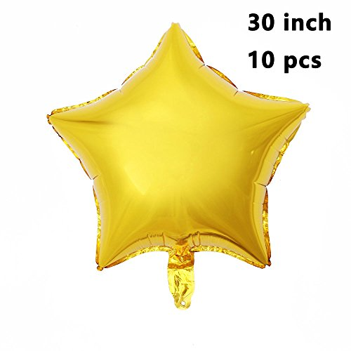 (ZOOYOO Star Shape Foil Mylar Helium Balloons,Pentagram Balloon For Birthday Wedding Party Decorations Gold 30 Inch 10pcs)