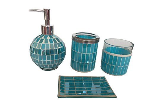 SkyMoving Luxury Bathroom Accessories set, 4-Piece Mosaic Glass Luxury Bathroom Gift Set, Includes Soap Dispenser, Toothbrush Holder, Tumbler & Soap Dish (Blue) - PREMIUM 4-PIECE DESIGNER BATHROOM SETS in three matching colors and seven styles to choose from, with the perfect blend of elegant luxury design, high-quality materials, and superior functionality COMPLETE BATH ACCESSORIES SET included in this luxury bath ensemble: liquid soap or lotion dispenser with premium metal pump, toothbrush holder, tumbler, and soap dish, in matching color and style LUXURIOUS AND FUNCTIONAL pamper yourself with the Italian inspired bathroom accessory set that non-slip grip brings Victorian elegance right into your daily routine. Each piece is designed for perfect function with extra lavishness and style. - bathroom-accessory-sets, bathroom-accessories, bathroom - 41eZcMh42 L -