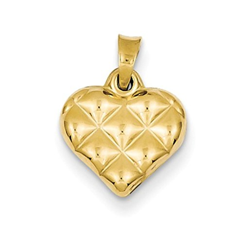 (Nina's Jewelry Box 14k Yellow Gold 3-D Quilted Puffed Heart Charm Pendant)