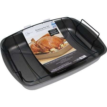 Mainstays Durable Non-Stick Finish Large Roasting Pan Set, 2 pcs.