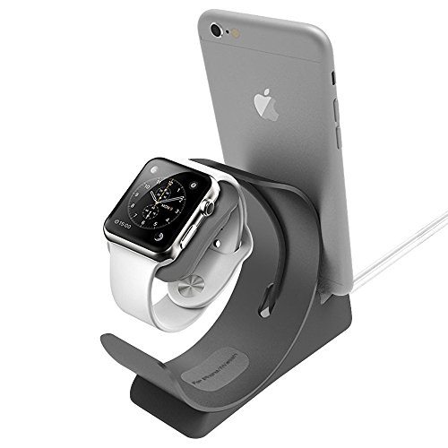 Apple Watch Stand, ARCHEER 2 in 1 Apple Watch and iPhone Charging Dock Station iWatch Stand Bracket Aluminum Alloy Desktop Stand Holder for iPhone, iPad, Apple Watch and More (Aluminum Alloys)