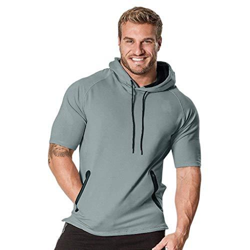 MILIMIEYIK Blouse,Mens Hipster Hip Hop Short/Long Sleeve Longline Pullover Hoodies Shirts Gray -