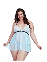 DreamGirl Womens Plus Size Stretch Lace and Mesh Babydoll with Lace Panty Set Babydoll Lingerie
