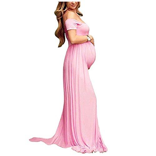 Vestido Larga Sexy Mujer Embarazada Vestido de Maternidad Photoshoot Dress Faldas Fotográficas de maternidad Apoyos De Fotografía Rosado