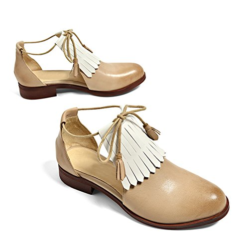 e270099f50488b Honeystore Glands Femmes Fringues En Cuir À Lacets Appartements Chaussures  Abricot ...