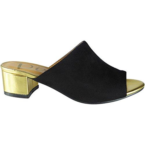 Faible Peeptoe 36 41 sandales Taille Nouvelles Bloc Noir Suède Des Talon Mules Femmes 5wTqIT4