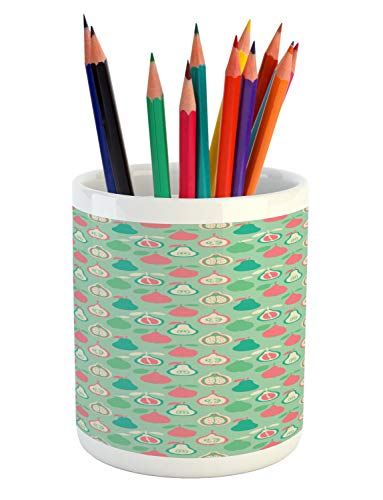 Lunarable Nursery Pencil Pen Holder, Colorful Pattern of Pear Pomelo and Quince Exotic Fruits Image, Printed Ceramic Pencil Pen Holder for Desk Office Accessory, Almond Green Multicolor