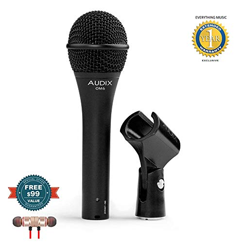 Audix OM6 Song Writer Dynamic Vocal Microphone includes Free Wireless Earbuds - Stereo Bluetooth In-ear and 1 Year Everything Music Extended Warranty (Vocal Dynamic Om6 Audix Microphone)
