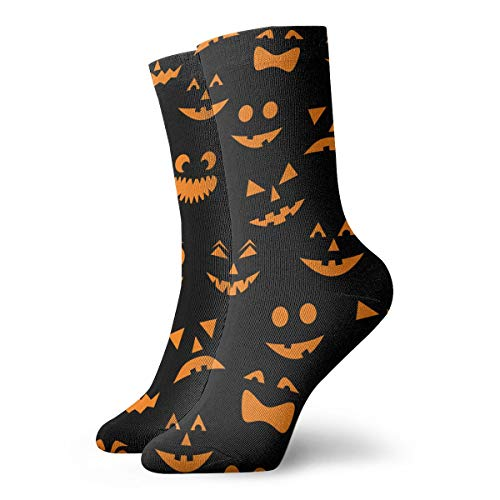 YIEOFH Halloween Carved Orange Pumpkins Faces Novelty Boys Girls Fashion Cute Funny Casual Art Crew Socks]()