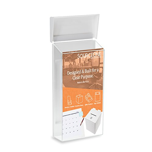Source One Peel and Stick Outdoor Brochure Holder 4 Inches Wide Clear Acrylic Wall Mounting Literature Dispenser