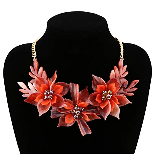 - Niumike Lily Flower Statement Necklaces for Women,Passion Red Chunky Necklace Box