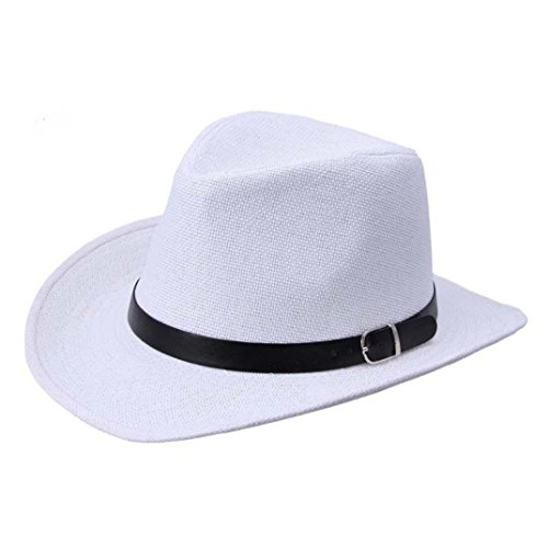 Vertily Hat New Summer Beach Straw Travel Women Men Cowboy Panama Triby Cap (White)