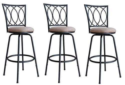 - Roundhill Furniture Redico Adjustable Metal Barstool, 3 Sets of Powder Coated Black Stool