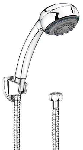 CON:P Carballo Brause-Set, Handbrause, 8 Strahlarten, Durchmesser 85 mm mit Antikalk Funktion, Brauseschlauch, Metall, 1/2 Zoll x 150 cm, Wandhalter, 1 Stück, Chrom, SA330695