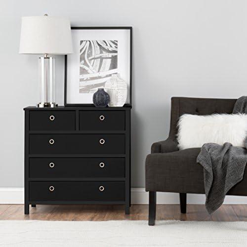 EZ Home Solutions Foldable Furniture Split Drawer Dresser, 31″ x 31″ x 19″, Black