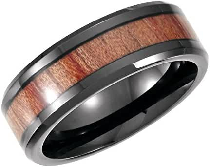 Cobalt 8mm Design Band with Rosewood Inlay by USGems