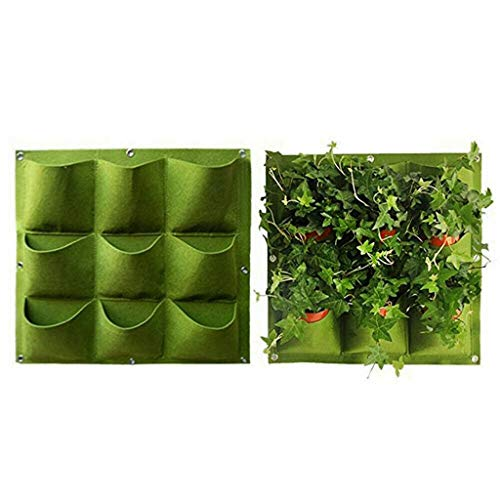 Garden Vertical Planter Multi Pocket Wall Mount Living Growing Bag Felt Indoor/Outdoor Pot, 9/18-Pocket