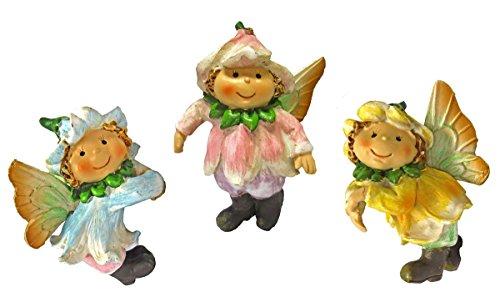Set of 3 Garden Fairy Pot Hangers - Adorable Fairies w/Flower Petal Hats