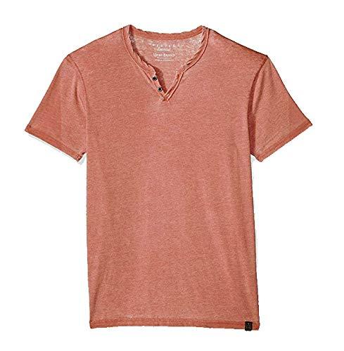 (Lucky Brand Men's Venice Burnout Notch Neck Tee Shirt (3XL, Barn Red))