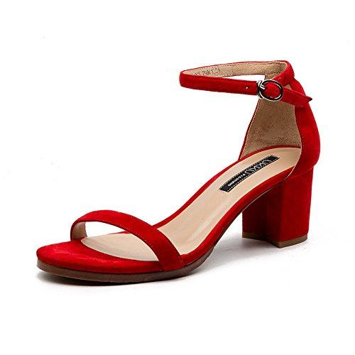 QIDI-sandalias Caucho Temporada De Verano Mujer Simple Talón Medio Punta Abierta Albaricoque Negro Rojo Zapatos (Color : Negro, Tamaño : EU39/UK6) Rojo