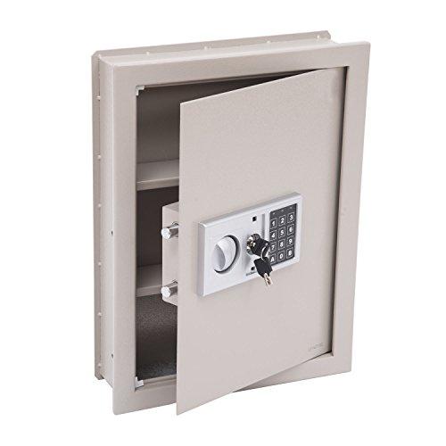 HOMCOM Flat Recessed Digital Keypad Home Security Gun Cash Wall Safe Box, 19