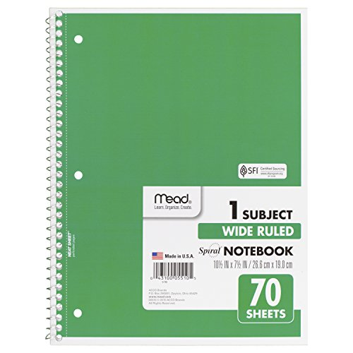 043100055105 - Mead Spiral 1-Subject Wide-Ruled Notebook, Assorted Colors (5510) carousel main 3