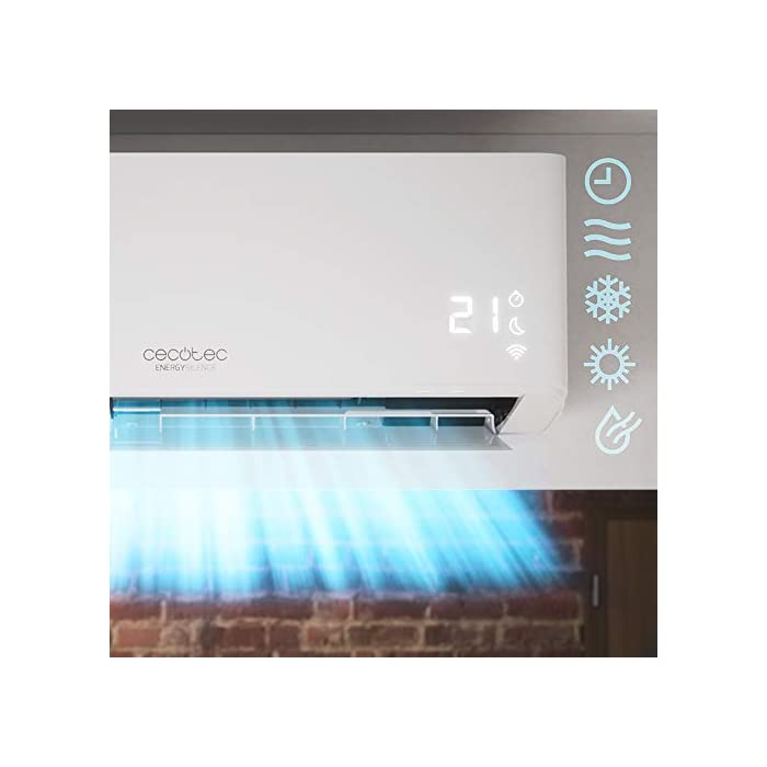 41eZgmSDQbL Aire acondicionado con una gran capacidad de enfriamiento de 12000 BTU equivalentes a 3000 frigorías. Dicha capacidad facilita conseguir la temperatura deseada en la estancia de manera rápida y eficaz. Sistema inverter que maximiza la eficiencia del compresor del aire acondicionado ya que regula su funcionamiento siempre a una velocidad y temperatura constante, alargando la vida útil del equipo. La bomba de calor del aire acondicionado permite también ser utilizado en invierno con el fin de aumentar la temperatura de la estancia en la cual sea ubicado. Su gran área de cobertura de 25 m2 permite adaptar y modificar la temperatura de la estancia a los grados deseados, ya sea para reducir los grados en verano, o aumentarlos en invierno. Su gas R-32 aumenta la eficacia y el poder de refrigeración/calefacción. Además, es muy poco contaminante y más respetuoso con el medioambiente. El dispositivo puede ser configurado remotamente a través de una conexión Wi-Fi, por lo que tendrás todo el control del dispositivo en tu Smartphone desde cualquier lugar. El temporizador se puede programar un máximo de 24 horas para seleccionar el tiempo de funcionamiento deseado, una vez finalizado se apagará automáticamente