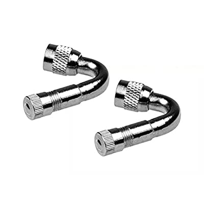 WINOMO Air Tyre Valve 45 Degree Schrader Valve Stem with Extension Adapter for Car Truck Motorcycle 2Pcs (Silver): Automotive