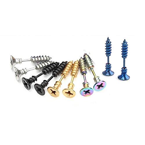 (BronaGrand 5 Pairs Men Unisex Stainless Steel Piercing Cross Screws Hoop Earrings Ear Stud)