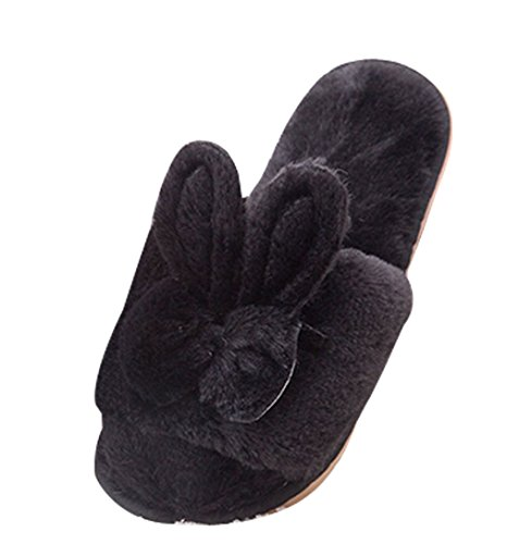 Cattior Furry Ladies Slippers Bunny Slippers Black n8bPorq