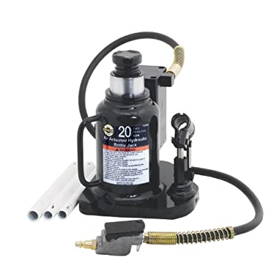 Omega 18209 Black Low Profile Hydraulic Welded Bottle Jack - 20 Ton Capacity