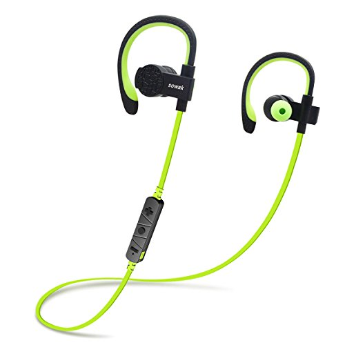 Earphone Headphone Green (Bluetooth Headphones, Wireless Headphones SOWAK In Ear Wireless Bluetooth Earphones With Mic aptX Stereo Noise Cancelling Earbuds for Sports Running Gym (Green))