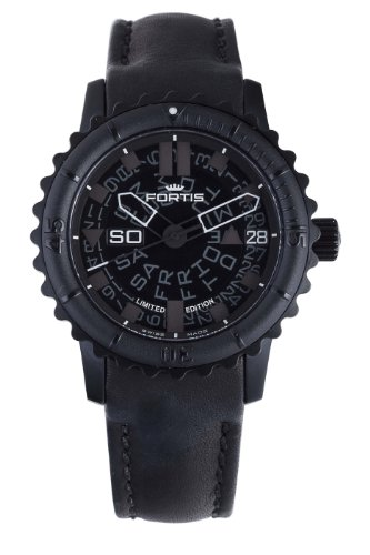 Fortis Men's 675.18.81 L.01 B-42 Big Automatic Black PVD Rotating Bezel Leather Watch