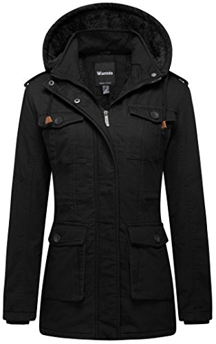 Wantdo Women's Warm Sherpa Lined Parka Coat with Removable Hood (Black, US S) by Wantdo