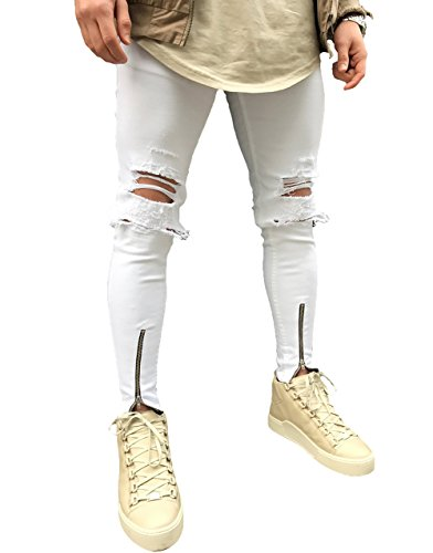 Men's Ripped Slim Fit Jeans Denim Pants with Broken Holes (W32, White-Broken Hole)
