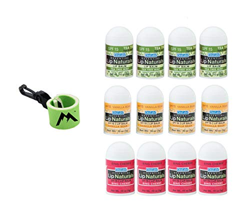 Essential Lip Naturals Mini Lip Balm Assorted Flavors12 Count | Bundle with | 1 Mini Neoprene Sleeve | Lip Balm Holder with Swivel Clip by Mile High Online (13 Total Items)