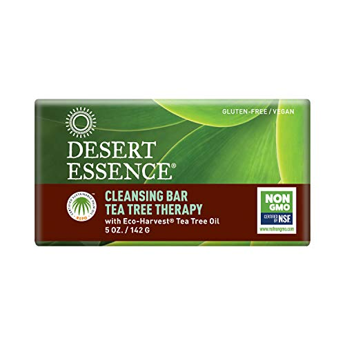 Desert Essence Organic Tea Tree Therapy Cleansing Bar Soap - 5 Ounce - Pack of 2 - Thearpeutic Skincare - All Skin Types - Jojoba Oil - Aloe Vera - Palm Oil - Moisturizes Face and Body